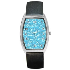 Glossy Abstract Ocean Barrel Style Metal Watch