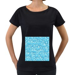 Glossy Abstract Ocean Women s Loose-Fit T-Shirt (Black)