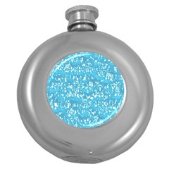 Glossy Abstract Ocean Round Hip Flask (5 oz)