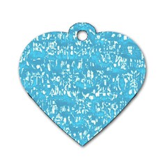 Glossy Abstract Ocean Dog Tag Heart (One Side)