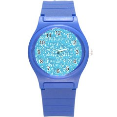 Glossy Abstract Ocean Round Plastic Sport Watch (S)