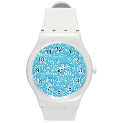 Glossy Abstract Ocean Round Plastic Sport Watch (M)