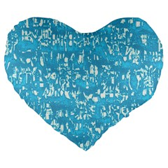 Glossy Abstract Ocean Large 19  Premium Heart Shape Cushions