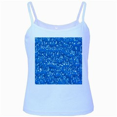 Glossy Abstract Teal Baby Blue Spaghetti Tank