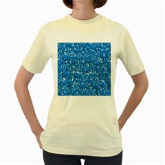 Glossy Abstract Teal Women s Yellow T-Shirt