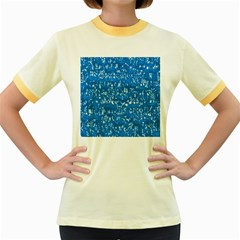 Glossy Abstract Teal Women s Fitted Ringer T-Shirts