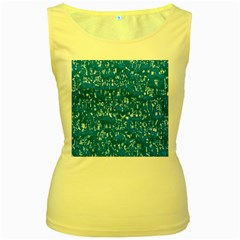 Glossy Abstract Teal Women s Yellow Tank Top