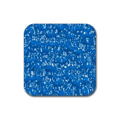 Glossy Abstract Teal Rubber Square Coaster (4 pack)