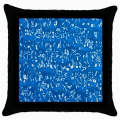 Glossy Abstract Teal Throw Pillow Case (Black)