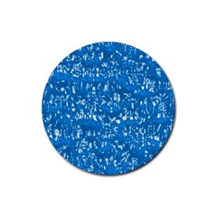 Glossy Abstract Teal Rubber Coaster (Round)