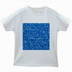 Glossy Abstract Teal Kids White T-Shirts