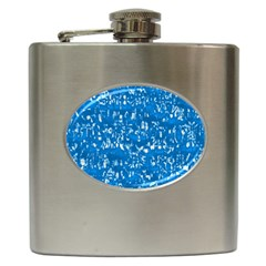 Glossy Abstract Teal Hip Flask (6 oz)