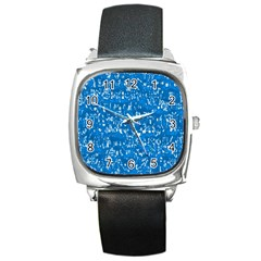 Glossy Abstract Teal Square Metal Watch