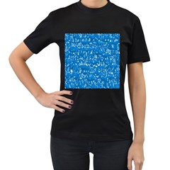 Glossy Abstract Teal Women s T-Shirt (Black) (Two Sided)