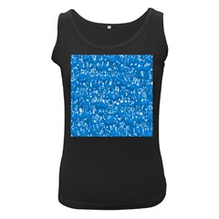 Glossy Abstract Teal Women s Black Tank Top