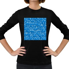 Glossy Abstract Teal Women s Long Sleeve Dark T-Shirts
