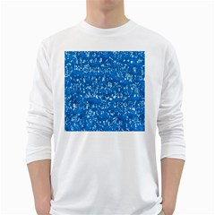 Glossy Abstract Teal White Long Sleeve T-Shirts
