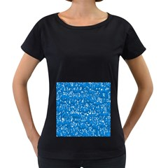 Glossy Abstract Teal Women s Loose-Fit T-Shirt (Black)