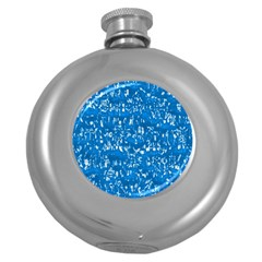 Glossy Abstract Teal Round Hip Flask (5 oz)