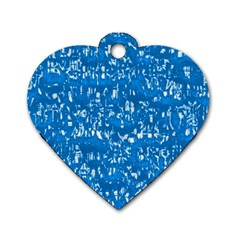 Glossy Abstract Teal Dog Tag Heart (One Side)