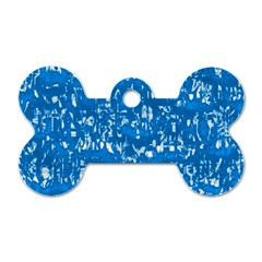 Glossy Abstract Teal Dog Tag Bone (One Side)