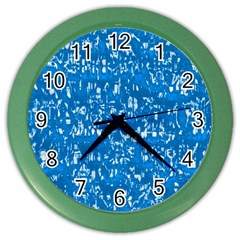 Glossy Abstract Teal Color Wall Clocks