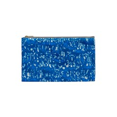 Glossy Abstract Teal Cosmetic Bag (Small)