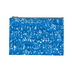 Glossy Abstract Teal Cosmetic Bag (Large)