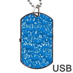 Glossy Abstract Teal Dog Tag USB Flash (Two Sides)