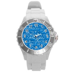 Glossy Abstract Teal Round Plastic Sport Watch (L)