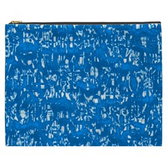 Glossy Abstract Teal Cosmetic Bag (XXXL)