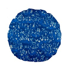Glossy Abstract Teal Standard 15  Premium Round Cushions