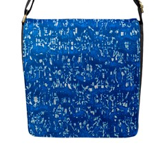 Glossy Abstract Teal Flap Messenger Bag (L)