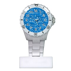 Glossy Abstract Teal Plastic Nurses Watch