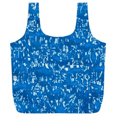 Glossy Abstract Teal Full Print Recycle Bags (L)