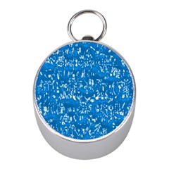 Glossy Abstract Teal Mini Silver Compasses