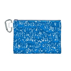 Glossy Abstract Teal Canvas Cosmetic Bag (M)
