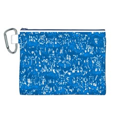 Glossy Abstract Teal Canvas Cosmetic Bag (L)