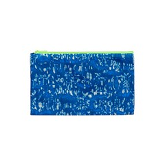 Glossy Abstract Teal Cosmetic Bag (XS)