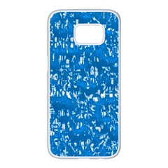 Glossy Abstract Teal Samsung Galaxy S7 edge White Seamless Case