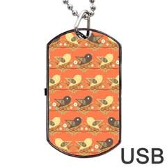 Birds Pattern Dog Tag USB Flash (Two Sides)