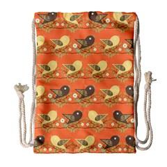 Birds Pattern Drawstring Bag (Large)