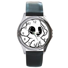 Poodle Cartoon White Round Metal Watch