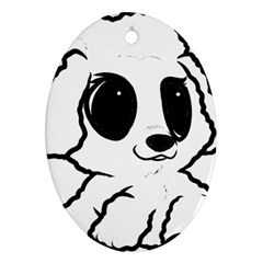 Poodle Cartoon White Ornament (Oval)