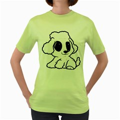 Poodle Cartoon White Women s Green T-Shirt