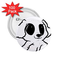 Poodle Cartoon White 2.25  Buttons (100 pack)