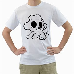 Poodle Cartoon White Men s T Shirt (white) (two Sided)