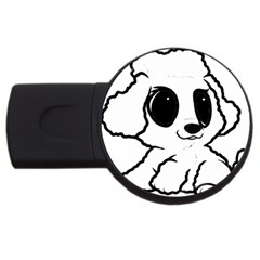 Poodle Cartoon White USB Flash Drive Round (1 GB)