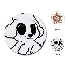 Poodle Cartoon White Playing Cards (Round)