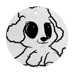 Poodle Cartoon White Round Ornament (Two Sides)